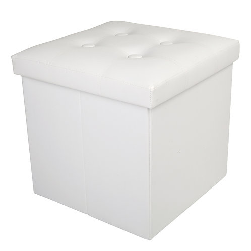 White Faux Leather Storage Footstool