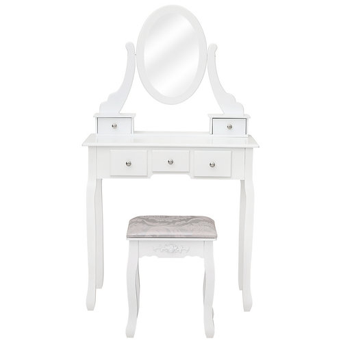 White Dressing Table with Stool & Mirror