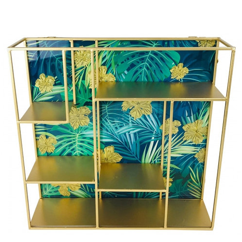 Gold Metal Shelf Unit With Glass Back & Tropical Print