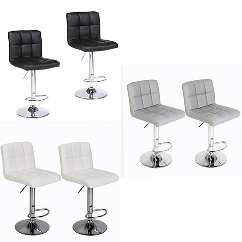Pair of Faux Leather Gas Lift Bar Stools