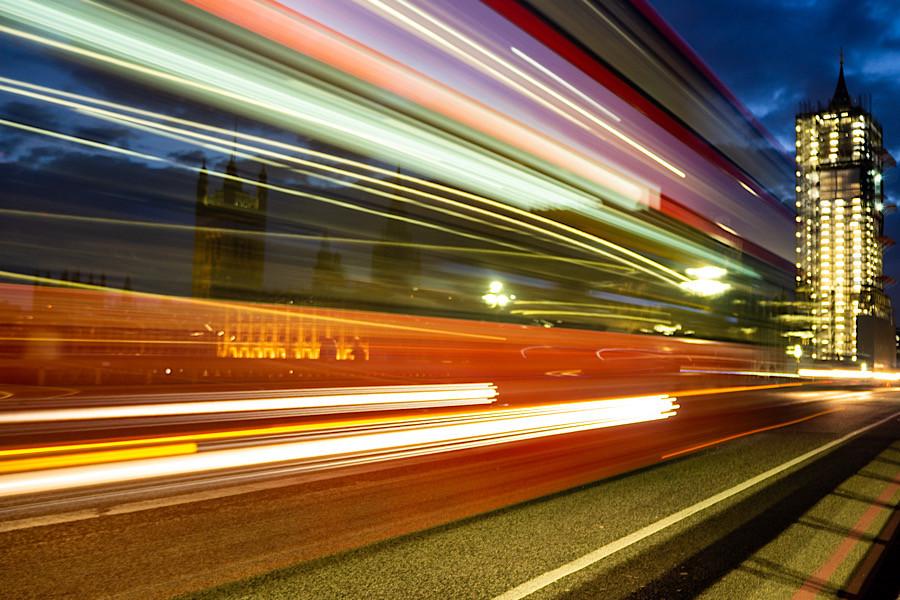 Night bus past Big Ben
