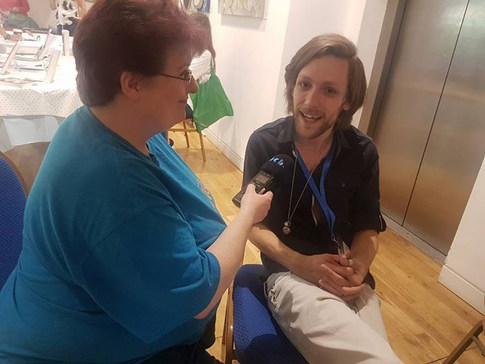 Chris Turnbull being interviewed at the event for BCB radio by Ann Morgan