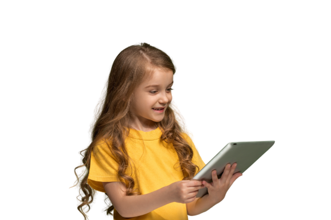 little-funny-girl-with-tablet-on-green-s