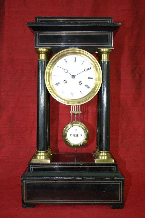 French Ebonised Four Pillar Portico Mantel Clock