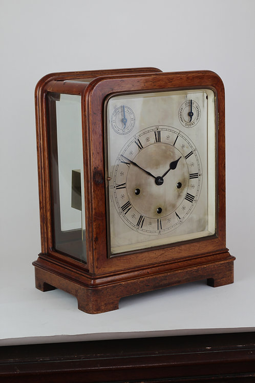 German Quarter Chiming Glazed Mahogany Bracket Clock