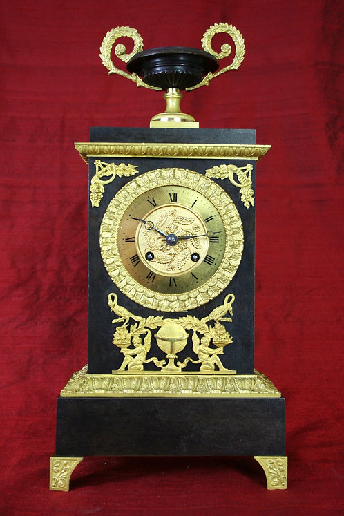 French Bronze Empire Mantel Clock. circa 1810