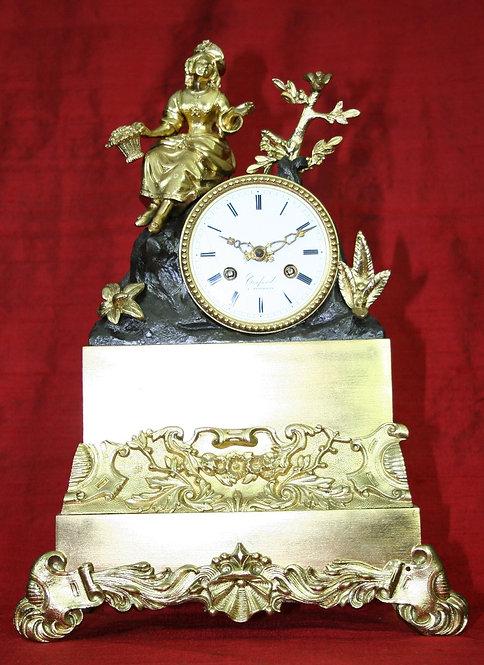French Gilt and Bronze Figured Mantel Clock circa 1830