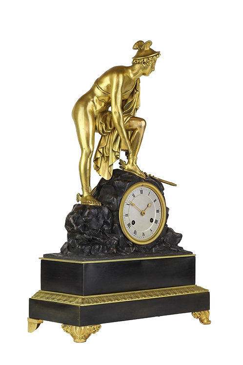 "French Bronze and Gilded Mantel Clock, "" Mercury """