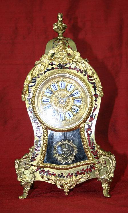 Tortoise Shell and Filigree Boulle Mantel Clock