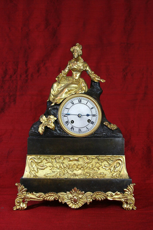 A Lady at her Ease. French Empire Mantel Clock