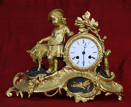 French Bronze and Gilt Mantel Clock circa 1850