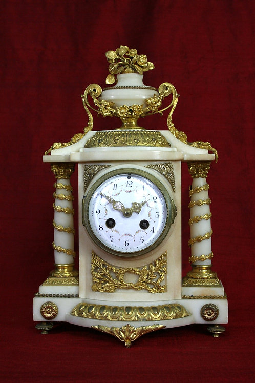 French White Marble and Gilded Mantel Clock.