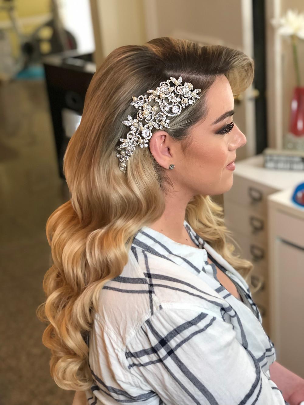 Hollywood Waves, Retro Waves, 1950's Waves, Hair Extensions, 100% Human Hair Extensions, Clip-in Hair Extensions, Long Hair, Bridal Hair, Wedding Hairstyles