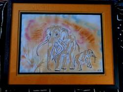 Femelle éléphant antique et son petit