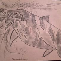 Temnodontosaurus dévorant un petit ichiosaure
