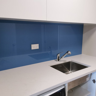 Painted Glass Splashback - Blue