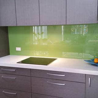 Painted Glass Splashback - Lime