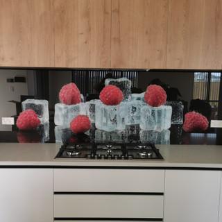 Printed Glass Splashback - Raspberry & Ice