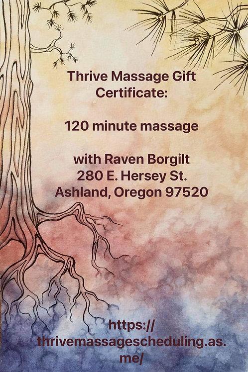 Gift Certificate: 120 minute massage