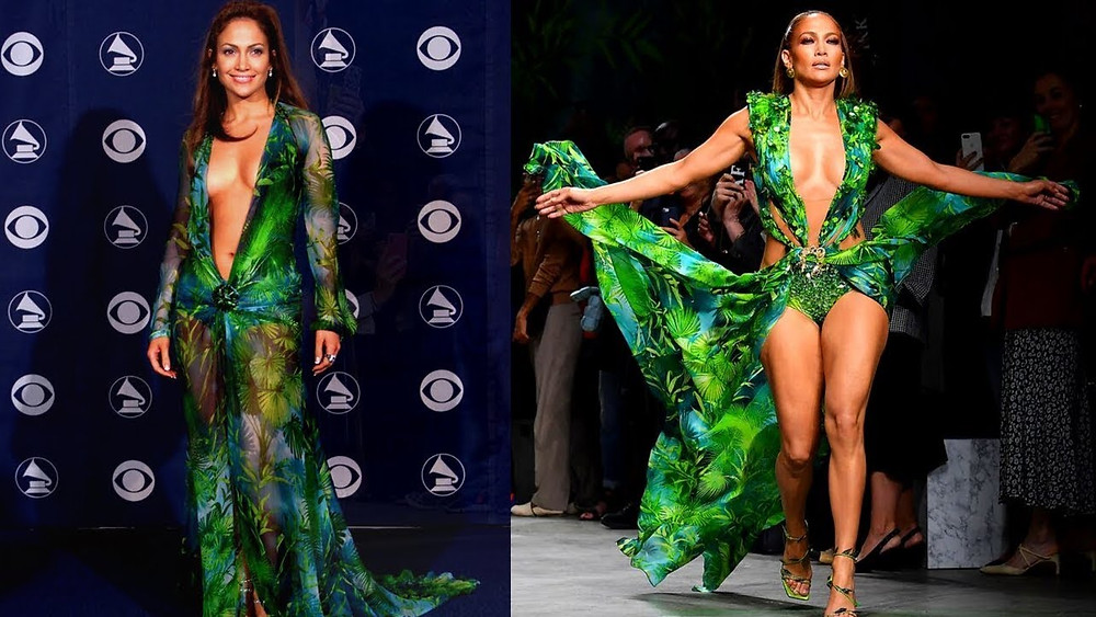 """In 2000, at the 42nd Annual Grammy Awards, the """"green Versace dress"""" worn by Jennifer Lopez received a lot of public cover age, being named the """"fifth most iconic dress of all time"""" in 2008."""