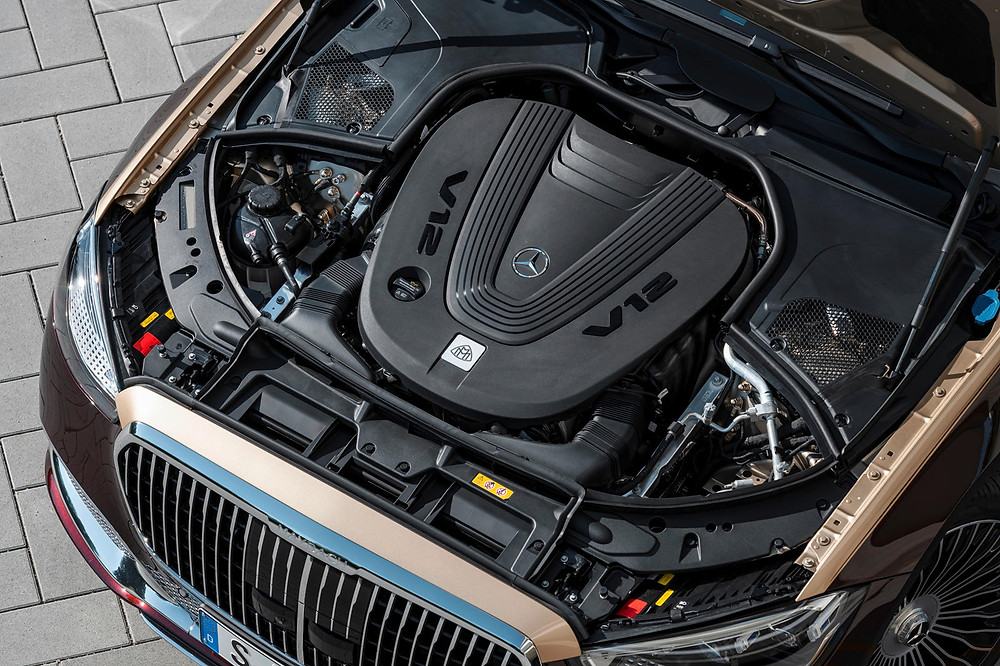 A 621-hp 6.0-liter V-12 is installed in the S680