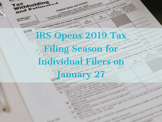 2019 Tax Filing Season Opens January 27