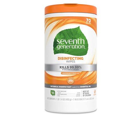 Seventh Disinfecting Wipes Lemongrass Citrus kills 99% Bacteria and viruses