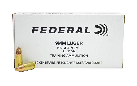 Federal 9mm 115 gr FMJ Training Ammunition 500 Round Case