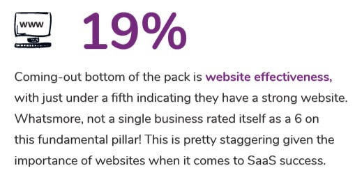 statistic - only 19% SaaS companies thought they have a strong website