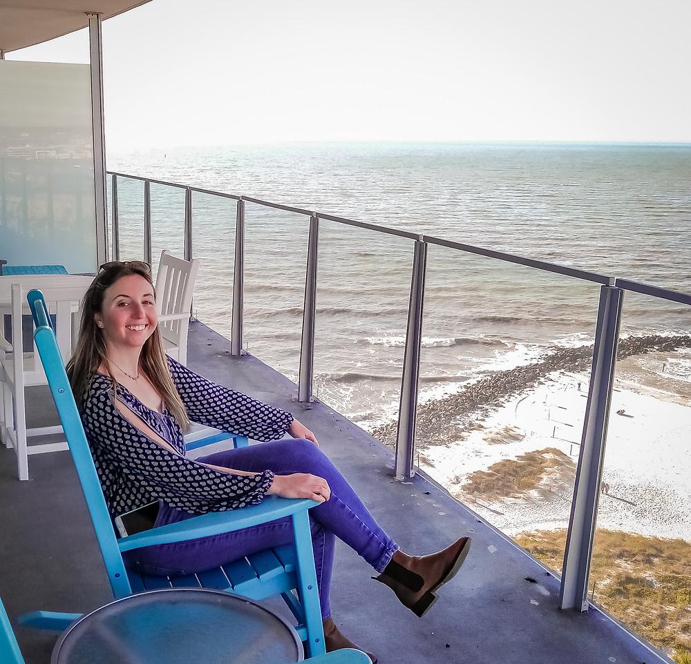 Caroline on balcony in Florida