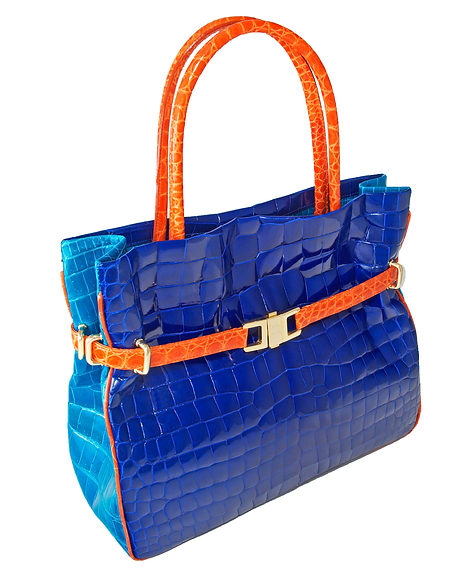 Tricolour Positano Tote Royal Blue/Orange/Turquoise Alligator