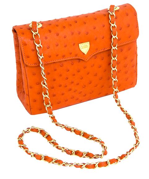 Medium Chain Bag Orange Ostrich