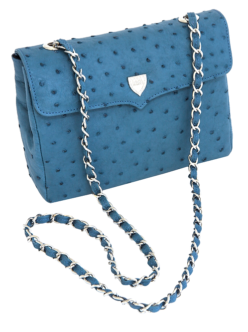 Medium Chain Bag Blue Jeans Ostrich