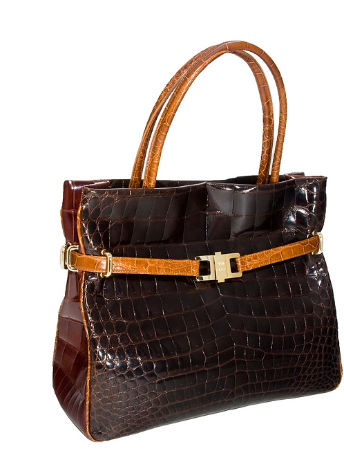 Tricolour Positano Tote Chocolate/Cognac/Honey Alligator
