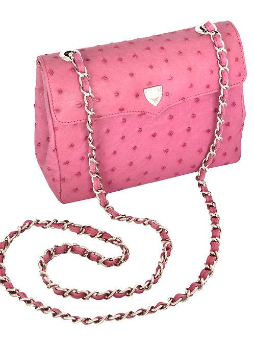 Medium Chain Bag Indian Pink Ostrich