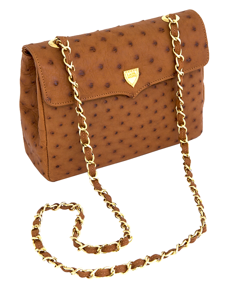 Medium Chain Bag Cognac Ostrich.png