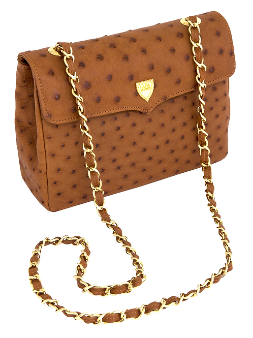 Medium Chain Bag Cognac Ostrich