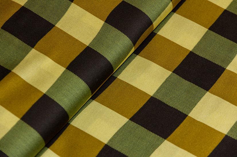 Viscose gelb/olive/schwarz karo