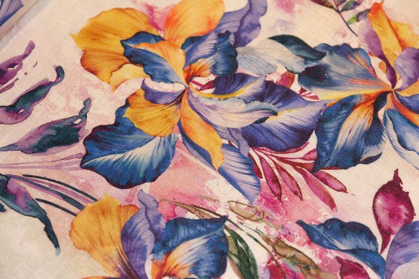 Leinen multicolor Blumenprint