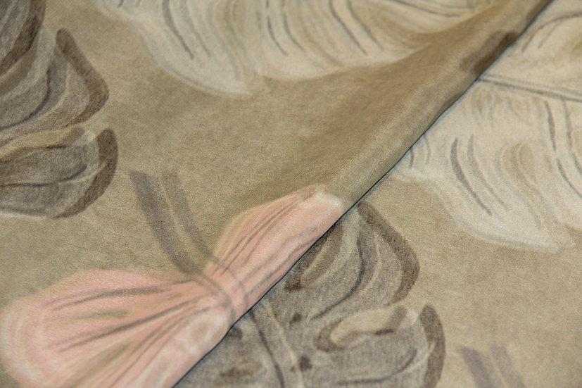 Viscose/Seide, taupe mit Gummibaumblätter
