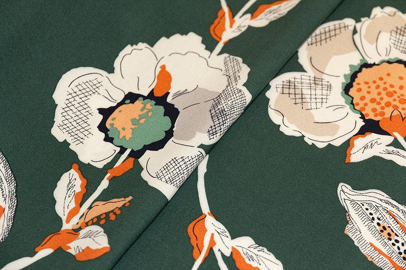 Viscose tannengrün mit Blumenprint