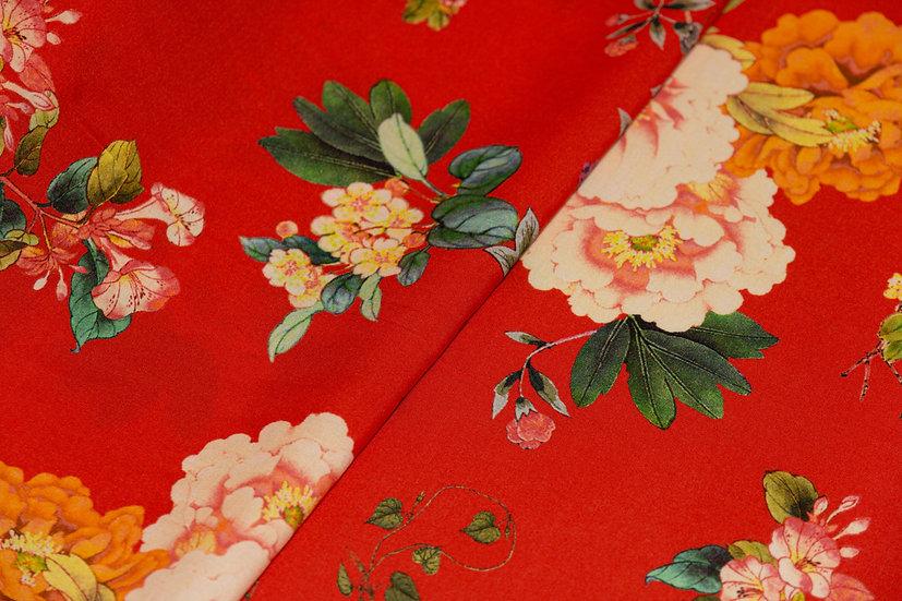 Viscose rot mit Blumenprint