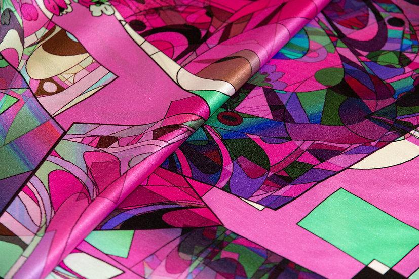 Seide, bunt gemustert, pink/rosa/hellgrün