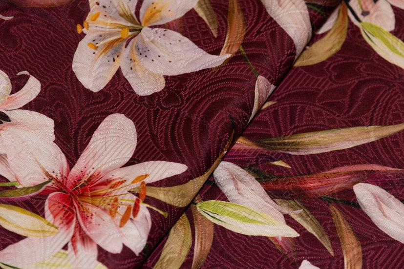Polyester/Baumwolle bordeaux mit Lilienprint