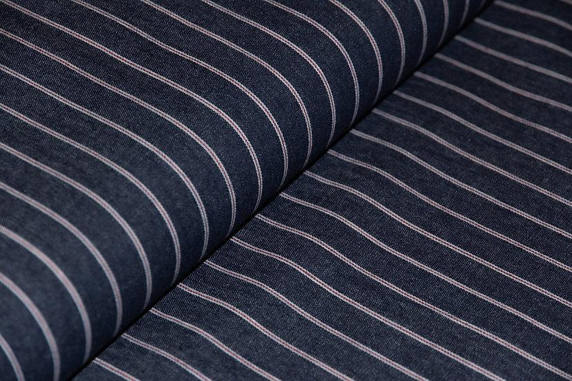 Jeans, dunkelblau mit feinen roten Streifen