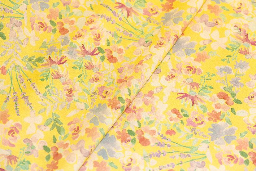 Lyocell hellgelb mit Blumenprint