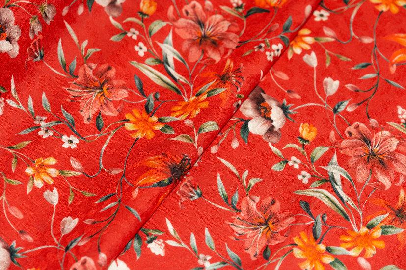 Viscose rot mit Blumenprint und Jacquardmusterung