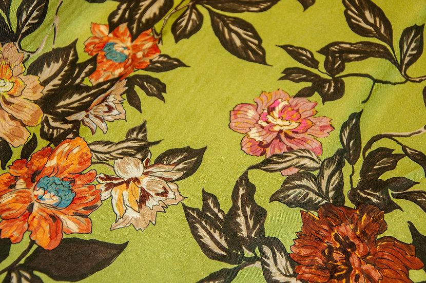 Viscose mit Blumenprint orange/rost