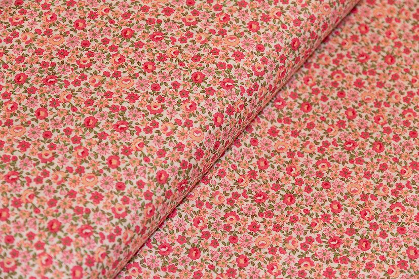 Baumwolle, rosa mit kleinen Blumen