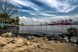Hamburg, Elbe beach and Harbour